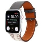 Pattern Decor Genuine Leather Smart Watch Band for Apple Watch Series 5/4 40mm / Series 3/2/1 38mm – Black