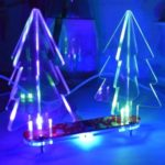 DIY Handmade Electronic Toy LED Gradient Acrylic Stereo Christmas Tree Decor Light – Red PCB + Transparent Acrylic