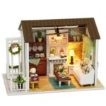 DIY Miniature Dollhouse Kit 3D Wooden Living Room Handmade Craft Gift with Furniture LED Lights