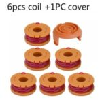 Grass Trimmer Replacement Line Spool Nylon Lawn Mower Accessory for Worx String Trimmer – 6Pcs Line Spools + 1Pc Cap Cover