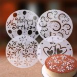 4Pcs Environmental PVC Cake Spray Molds Garland Template Cake Printing Stencil Kitchen Art