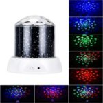 Rotating LED Starlight Projector Lamp Colorful Sky Star Romantic Starry Night Light – Black