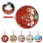 6.5 inch Christmas Double-Sided Ceramic Cork Round Coaster Heat Resistant Pan Cup Mat with Hanging Rope – Random Color