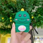 3D Cartoon Dinosaur Portable Silicone Case with Hook for Apple AirPods with Wireless Charging Case (2019)/AirPods with Charging Case (2019)/(2016) – Smile Face