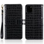 Crocodile Texture Wallet Stand Leather Cover with Stap for iPhone 11 Pro 5.8 inch – Black
