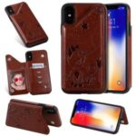 Imprint Cat and Bee Kickstand Card Holder PU Leather Coated TPU Case for iPhone X/XS 5.8 inch – Brown