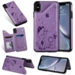 Imprint Cat and Bee Kickstand Card Holder PU Leather Coated TPU Cover for iPhone XS Max 6.5 inch – Purple