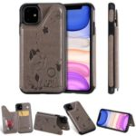 For iPhone 11 6.1 inch Imprint Cat and Bee Kickstand Card Holder Case – Grey