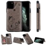 For Apple iPhone 11 Pro 5.8 inch Imprint Cat and Bee Kickstand Card Holder Phone Case – Grey
