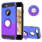 Finger Ring Kickstand Gradient Color Detachable TPU + PC Hybrid Case Shell for iPhone 8/7/6s/6 (Built-in Metal Sheet) – Blue / Purple