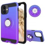 Finger Ring Kickstand Gradient Color Detachable TPU + PC Hybrid Case for iPhone 11 6.1 inch (Built-in Metal Sheet) – Blue / Purple