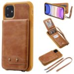 PU Leather Coated TPU Cover with Card Holders for iPhone 11 6.1 inch – Brown