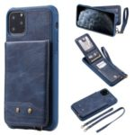 PU Leather Coated TPU Cover with Card Holders [Vertical Flip] for iPhone 11 Pro Max 6.5-inch – Blue