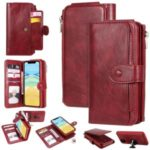 Vintage Style Multifunctional PU Leather Wallet Phone Case Cover for iPhone 11 6.1-inch – Red