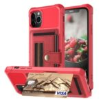 TPU+PU Leather Phone Case with Card Slot and Elastic Finger Ring Strap for iPhone 11 Pro Max 6.5-inch – Red
