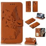 Litchi Skin Imprint Feather Wallet Leather Phone Shell for Samsung Galaxy A10s – Brown