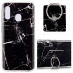 Marble Pattern IMD TPU Back Case + Finger Ring Kickstand for Samsung Galaxy A20e – Style A