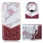 Marble Pattern IMD TPU Back Shell + Finger Ring Kickstand for Samsung Galaxy A50 – Style A