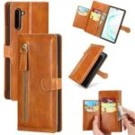Zipper Pocket Wallet Stand Flip Leather Phone Case for Samsung Galaxy Note 10/Note 10 5G – Light Brown