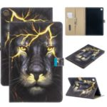 Pattern Printing Wallet Stand Leather Table Case for Samsung Galaxy Tab S5e SM-T720 – Lion