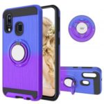For Samsung Galaxy A40 Gradient Color 2 in 1 360 Degree Ring Kickstand Shell – Blue/Purple