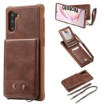 PU Leather Coated TPU Cover with Card Holders [Vertical Flip] for Samsung Galaxy Note 10 / Note 10 5G – Dark Brown