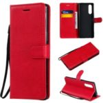 Wallet Leather Stand Case for Sony Xperia 5 – Red