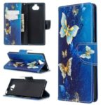 Pattern Printing Wallet Stand Leather Phone Cover for Sony Xperia 8 – Blue Butterfly