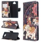 Pattern Printing Leather Wallet Case for Sony Xperia 8 – Flower and Elephant