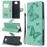 Imprint Butterfly Wallet Leather Stand Case for Sony Xperia 8 – Green