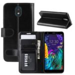 Crazy Horse Texture PU Leather Stand Wallet Flip Phone Shell for LG K30 (2019) – Black