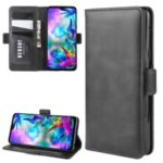 Magnet Adsorption Leather Wallet Stand Covering for LG G8X ThinQ – Black