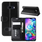 Crazy Horse Skin Wallet Leather Stand Case for LG G8X ThinQ – Black