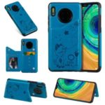 Imprint Cat and Bee Kickstand Card Holder PU Leather Coated TPU Cell Phone Case for Huawei Mate 30 Pro – Blue