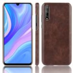 Litchi Skin Leather Coated Hard PC Back Case for Huawei Enjoy 10s – Brown