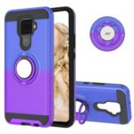 For Huawei Mate 30 Lite / nova 5i Pro Gradient Color 2 in 1 360 Degree Ring Cell Cover – Blue/Purple