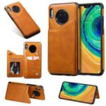 Card Slots PU Leather Coated TPU Cover Phone Case for Huawei Mate 30 – Brown