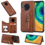 Zipper Pocket Leather Coated TPU Card Holder Case with Kickstand for Huawei Mate 30 – Brown