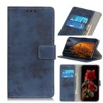 Vintage Style Leather Wallet Protection Phone Casing for Motorola One Macro – Blue