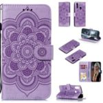 Imprint Mandala Flower Stand Leather Wallet Case for Motorola Moto E6 Plus – Purple