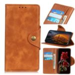 Brass Magnetic Clasp Leather Mobile Cover for Motorola Moto G8 – Brown