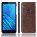 Litchi Skin Leather Coated PC Hard Case for Motorola Moto E6 – Brown