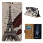Pattern Printing PU Leather Wallet Stand Phone Cover for Motorola Moto E6 Play – Eiffel Tower and Letters