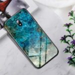 Marble Texture Tempered Glass + PC + TPU Hybrid Case for Xiaomi Redmi 8A – Emerald