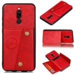For Xiaomi Redmi 8 Kickstand Card Holder PU Leather Coated TPU Case [Built-in Vehicle Magnetic Sheet] – Red
