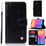 Premium Vintage Leather Wallet Stand Case for Xiaomi Redmi 8A – Black