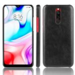 Litchi Skin Leather Coated Hard PC Cell Phone Covering Case for Xiaomi Redmi 8 – Black