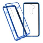Magnetic Metal Frame + Tempered Glass Back Cell Phone Protective Cover for Xiaomi Redmi Note 8 Pro – Blue