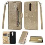 Glitter Powder Zippered Leather Wallet Case with Strap for Xiaomi Redmi Note 8 Pro – Gold