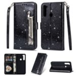 Shiny Sparkle Glitter Powder Zippered Stand Leather Shell with Strap for Xiaomi Redmi Note 8 – Black